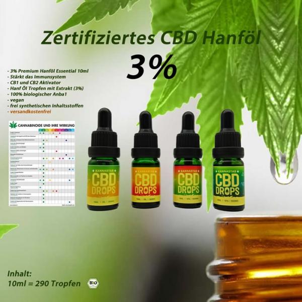 CBD-Öl 3% Tropfen Hanf-Öl 300mg