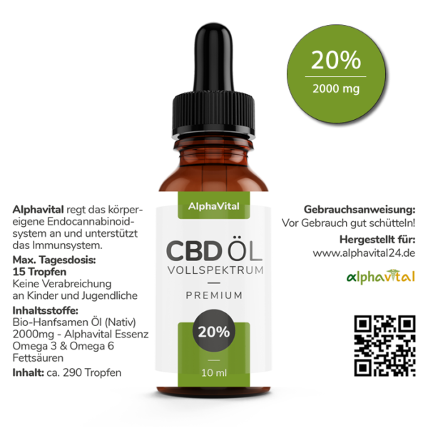 AlphaVital CBD Öl 20% Vollspektrum   enthält 2000 mg CBD (10 ml)