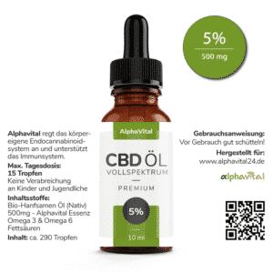 AlphaVital CBD Öl 5% enthält 500mg CBD 10ml