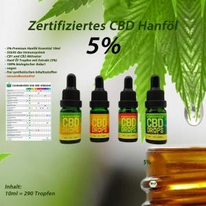 CBD-Öl 5% Tropfen Hanf-Öl 500mg