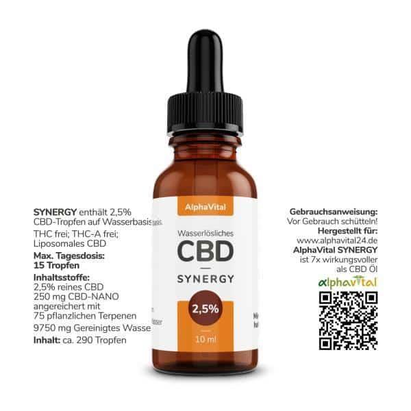 AlphaVital CBD Öl 25% enthält 2500 mg CBD 10 ml