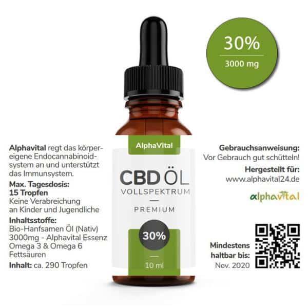 AlphaVital CBD Öl 30% enthält 3000 mg CBD 10 ml