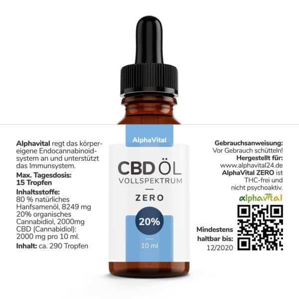 AlphaVital ZERO 20% CBD-Tropfen auf Ölbasis THC frei