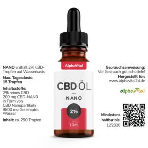 AlphaVital NANO 200 mg liposomales wasserlösliches CBD THC frei