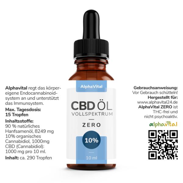AlphaVital ZERO 10% CBD-Tropfen auf Ölbasis THC frei
