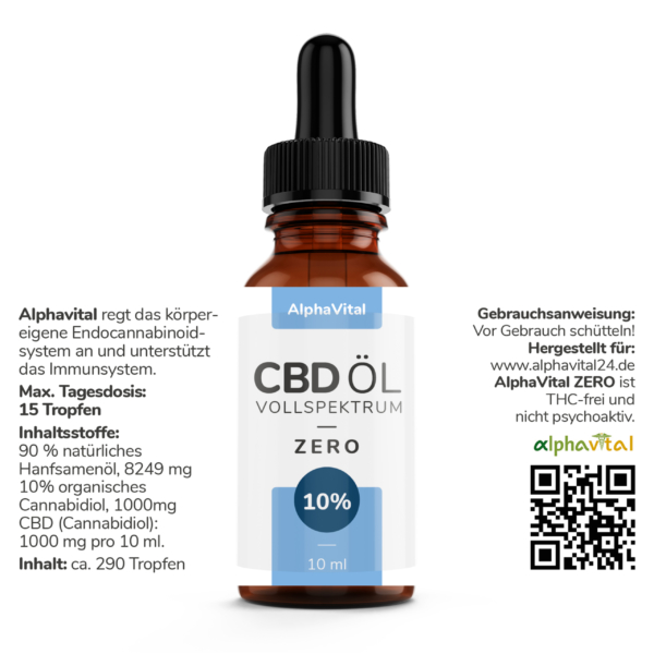 AlphaVital ZERO 10 ml | 10% CBD-Tropfen auf Ölbasis THC frei