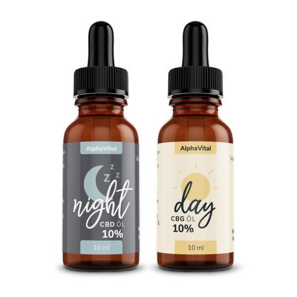 AlphaVital Night & Day | CBD/CBG ÖL 10% | Vollspektrum | 2 Flaschen á 10 ml